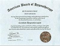 米国催眠療法協会 資格認定証
