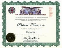 国際催眠連盟 資格認定証