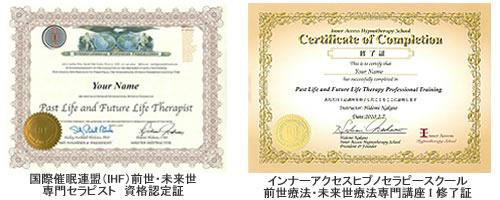 国際催眠連盟(IHF)認定証とインナーアクセスヒプノセラピースクール修了証