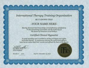 国際セラピートレーニング協会 資格認定証
