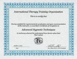 ITTO(国際セラピートレーニング協会)ヒプノセラピスト資格認定書