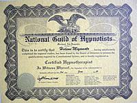米国催眠士協会 資格認定証